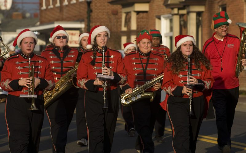 Stonewall Jackson High School band members march during Mount Jackson's annual Christmas Parade held Saturday afternoon. The event, which is sponsored by the town, featured 56 units. A  tree lighting ceremony followed the parade.  Rich Cooley/Daily